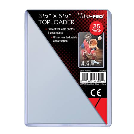 "Ultra Pro 3-1/2"" X 5-1/8"" Toploader (25CT) Pack"