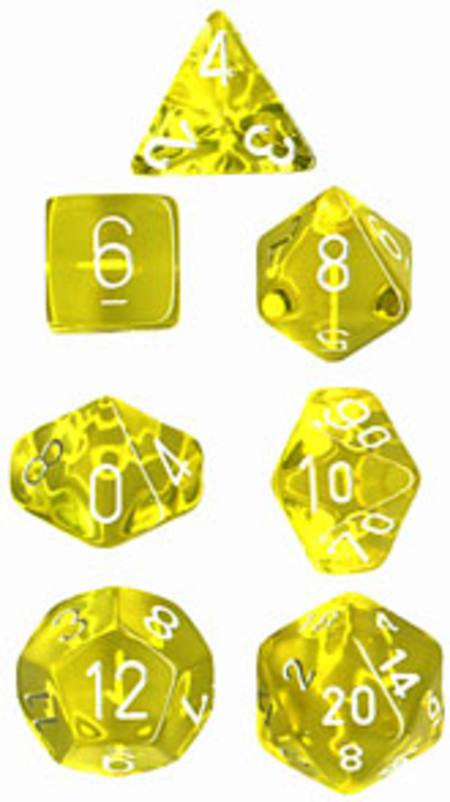 Translucent Yellow w/White Polyhedral 7-Die Set