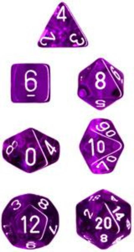 Translucent Purple w/white Polyhedral 7-Die Set