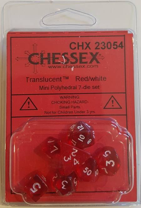 Mini Transparent Red/White Polyhedral 7-Die Set