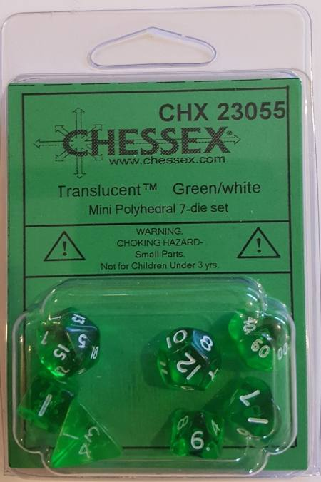 Mini Transparent Green/White Polyhedral 7-Die Set