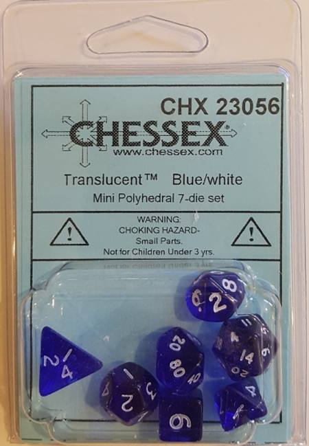 Mini Transparent Blue/White Polyhedral 7-Die Set