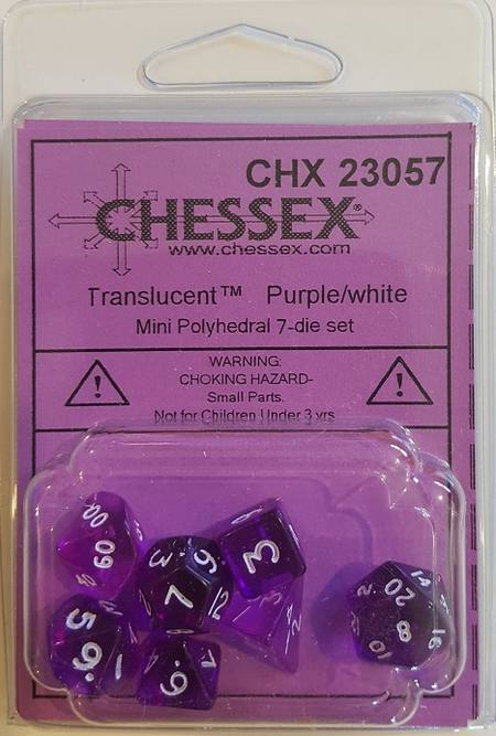 Mini Transparent Purple/White Polyhedral 7-Die Set