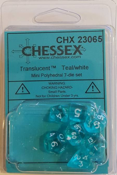 Mini Transparent Teal/White Polyhedral 7-Die Set