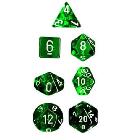 Translucent Green w/White Polyhedral 7-Die Set