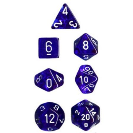 Translucent Blue w/White Polyhedral 7-Die Set