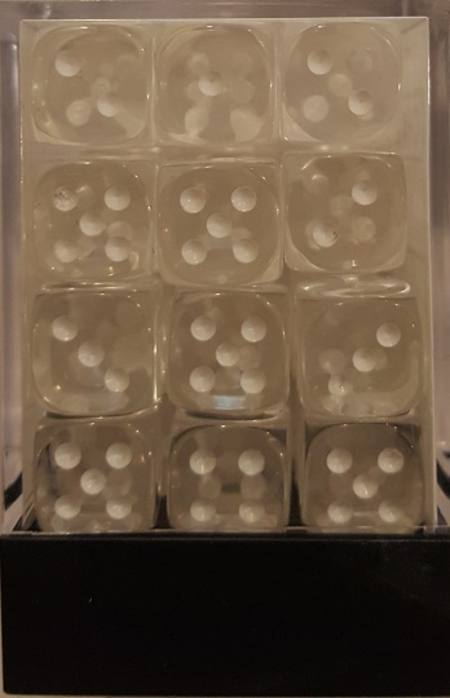 Translucent D6 12mm Clear/white  (36CT)