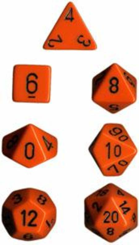 Opaque Orange w/black Polyhedral 7-Die Set