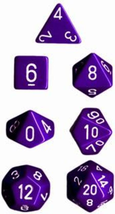 Opaque Purple w/white Polyhedral 7-Die Set