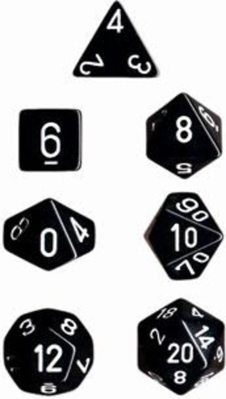 Opaque Black w/white Polyhedral 7-Die Set