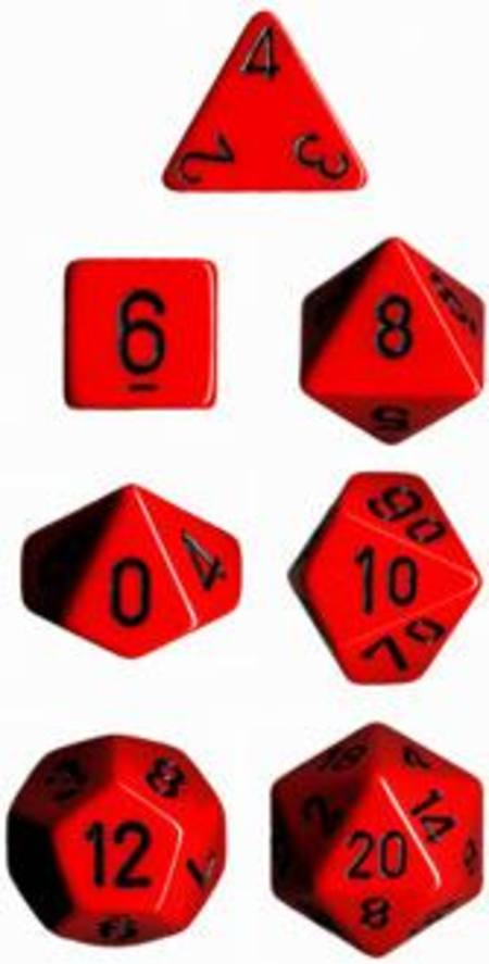 Opaque Red w/black Polyhedral 7-Die Set