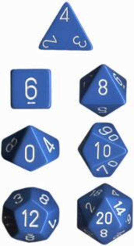 Opaque Lt Blue w/white Polyhedral 7-Die Set