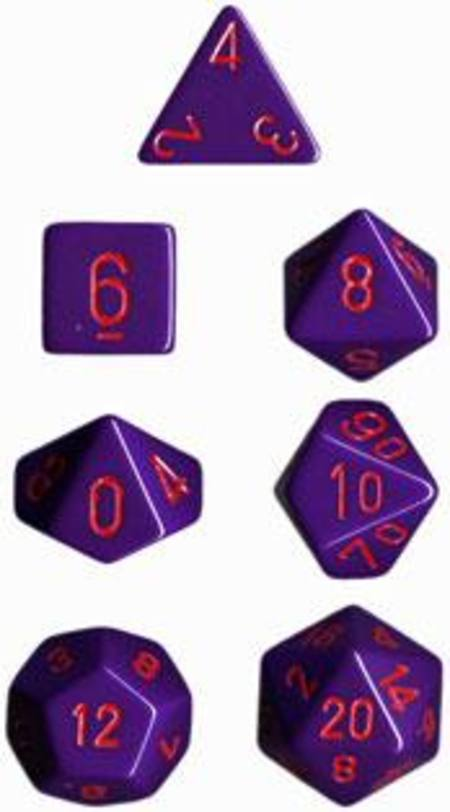 Opaque Purple w/red Polyhedral 7-Die Set