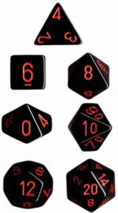 Opaque Black w/red Polyhedral 7-Die Set
