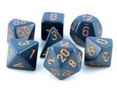 Opaque Dusty Blue w/copper Polyhedral 7-Die Set