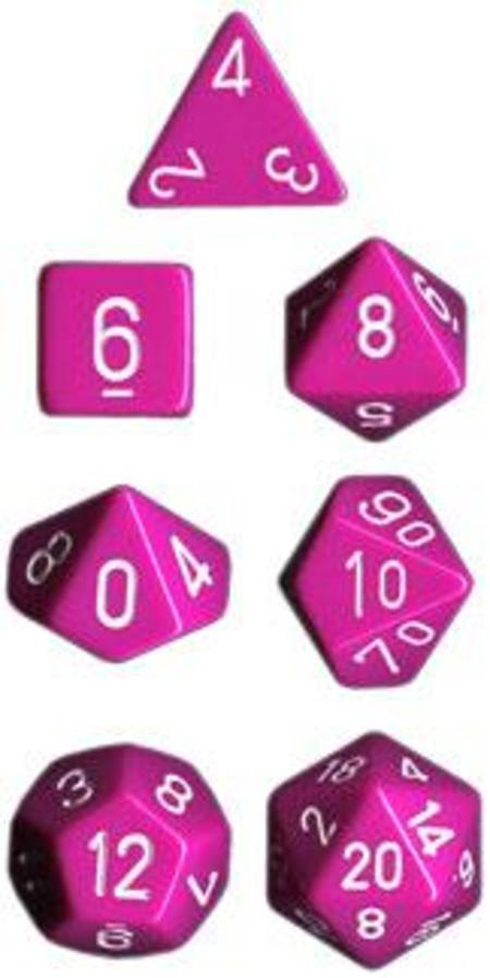 Opaque Lt Purple w/white Polyhedral 7-Die Set