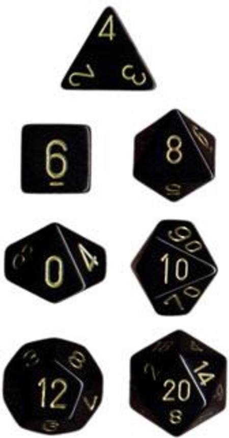 Opaque Black w/gold Polyhedral 7-Die Set