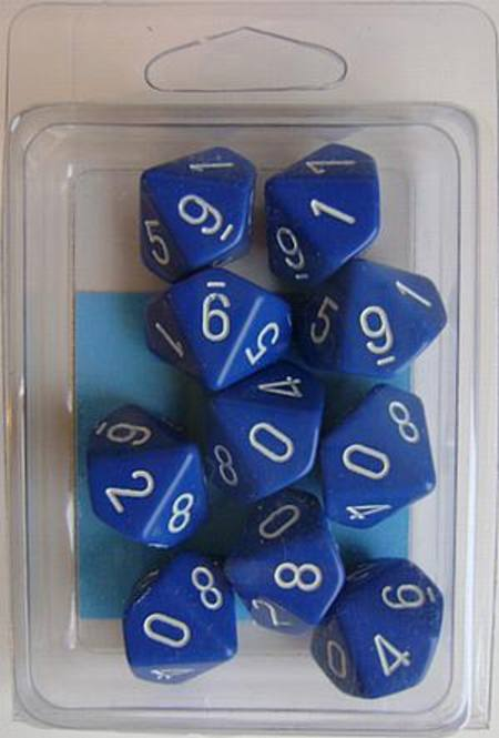 Opaque D10 Blue with White (10CT)