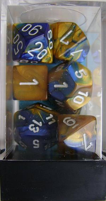 Gemini Blue-Gold w/white Polyhedral 7-Die Set