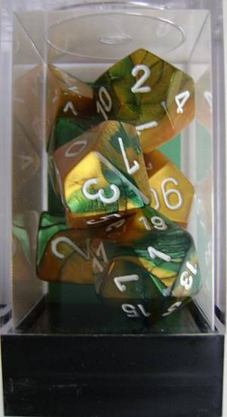 Gemini Gold-Green w/white Polyhedral 7-Die Set