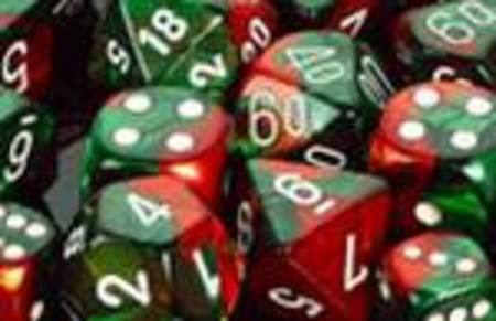 Gemini Green-Red w/white Polyhedral 7-Die Set