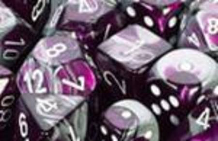 Gemini Purple-Steel w/white Polyhedral 7-Die Set