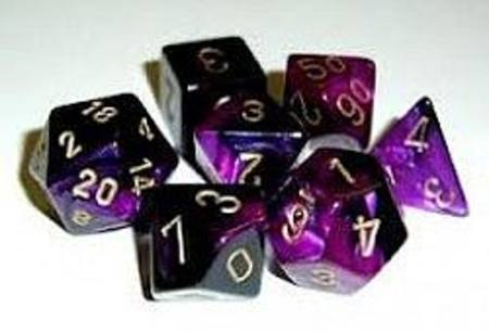 Gemini Black-Purple w/gold Polyhedral 7-Die Set