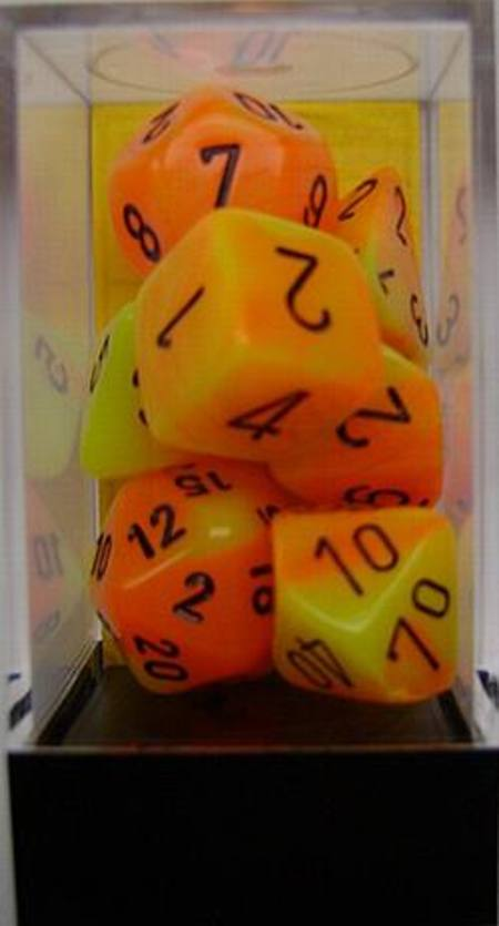 Gemini Orange-Yellow w/black Polyhedral 7-Die Set