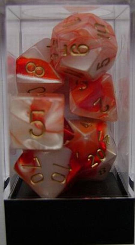 Gemini Red-White w/gold Polyhedral 7-Die Set