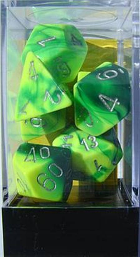 Gemini Green-Yellow w/silver Polyhedral 7-Die Set