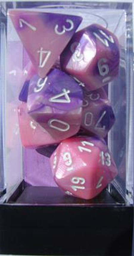 Gemini Pink-Purple w/white Polyhedral 7-Die Set