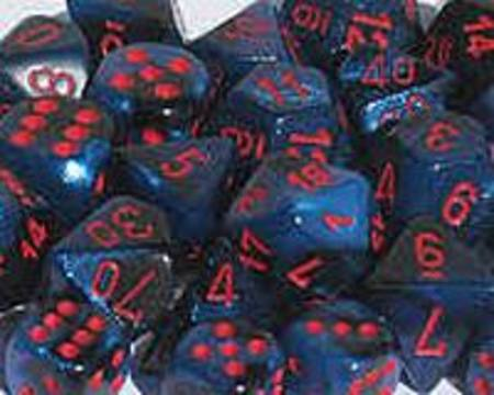 Gemini Black w/starlight red Polyhedral 7-Die Set