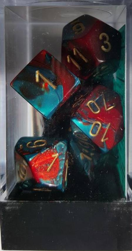 Gemini Red-Teal w/gold Polyhedral 7-Die Set