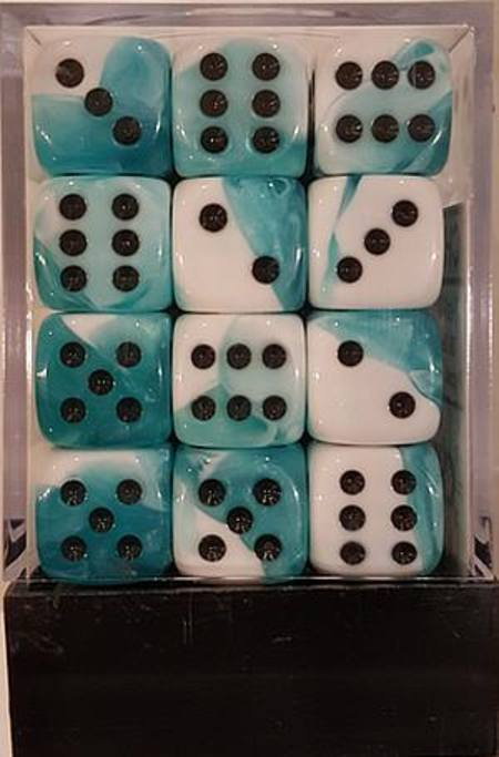 Gemini D6 12mm Teal-White w/black (36CT)