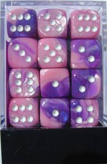 Gemini D6 12mm Pink-Purple w/white (36CT)