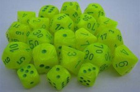 Vortex Electric Yellow w/green Polyhedral 7-Die Set