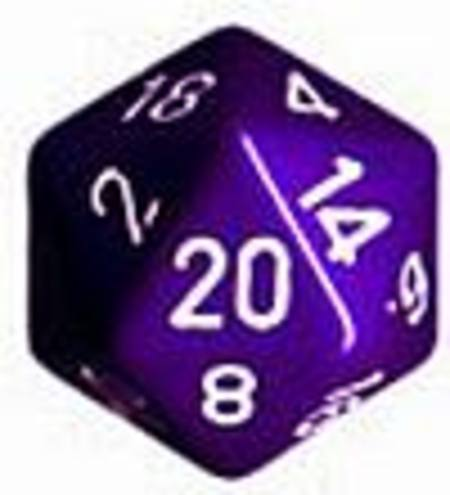 Opaque Jumbo 34mm D20 Purple with White