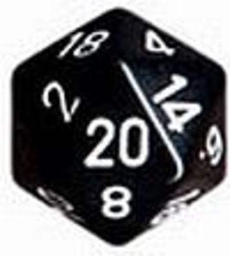 Opaque Jumbo 34mm D20 Black with White